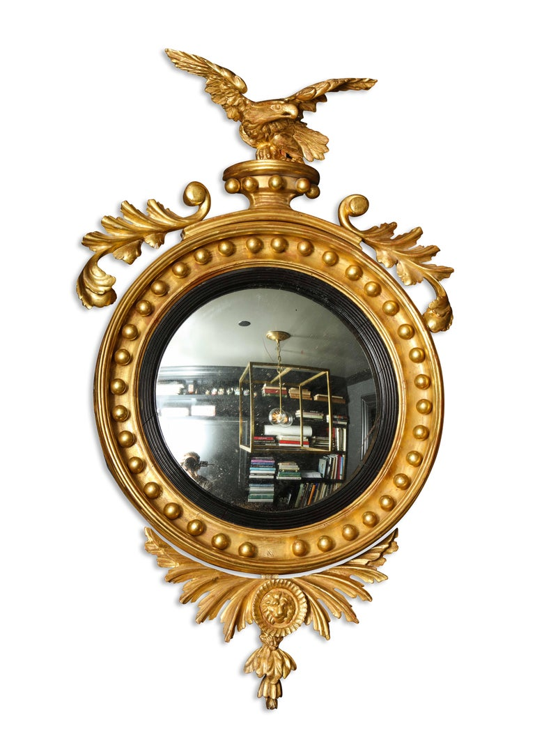 Pair of Regency Giltwood Convex Mirrors For Sale 5