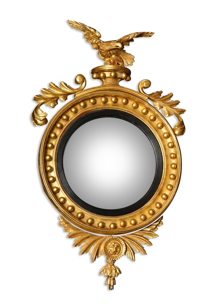 English Pair of Regency Giltwood Convex Mirrors For Sale