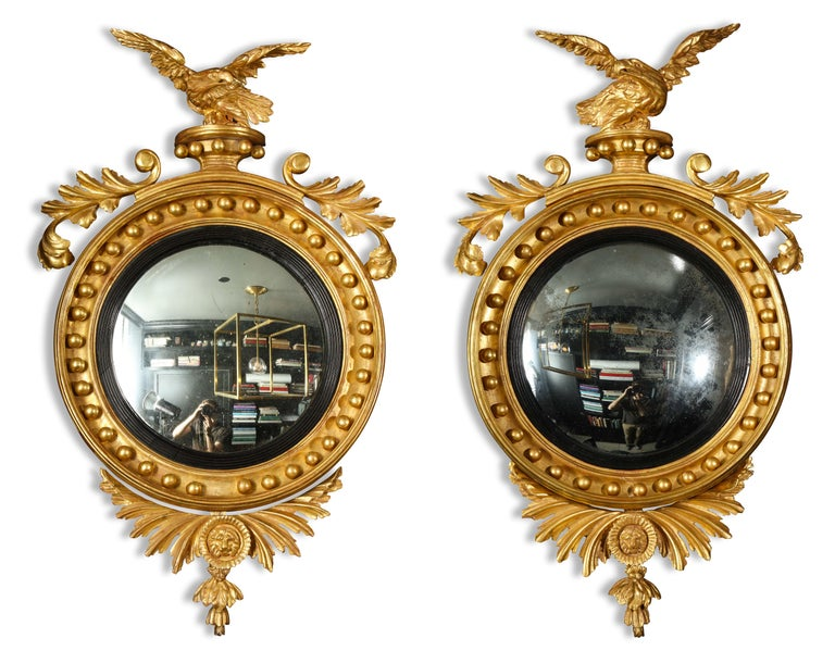 Pair of Regency Giltwood Convex Mirrors In Good Condition For Sale In New York, NY