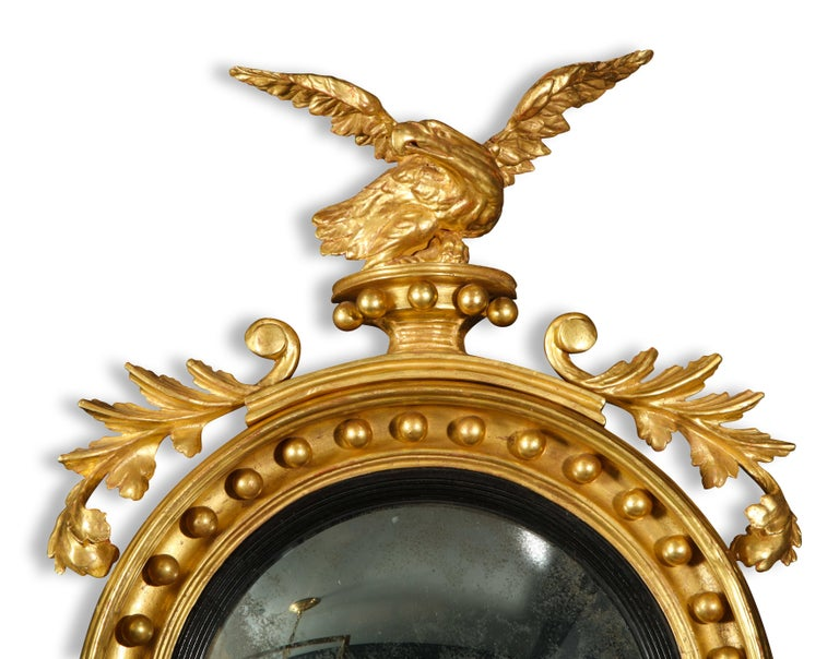 19th Century Pair of Regency Giltwood Convex Mirrors For Sale