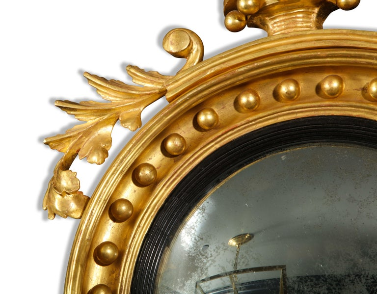 Pair of Regency Giltwood Convex Mirrors For Sale 2