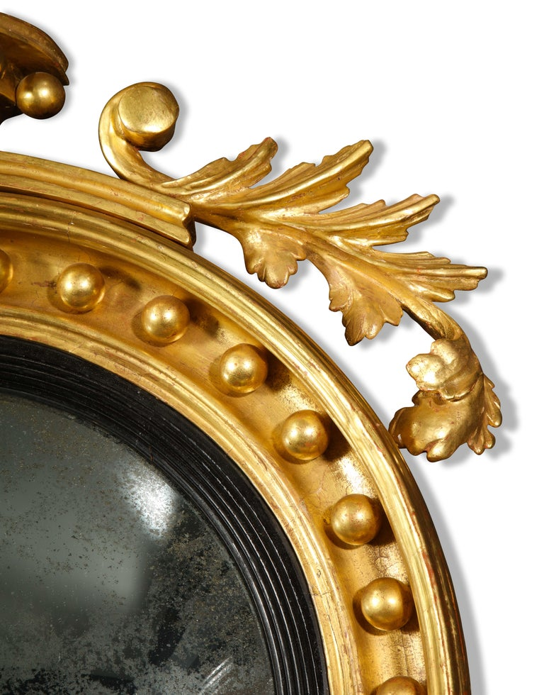 Pair of Regency Giltwood Convex Mirrors For Sale 3