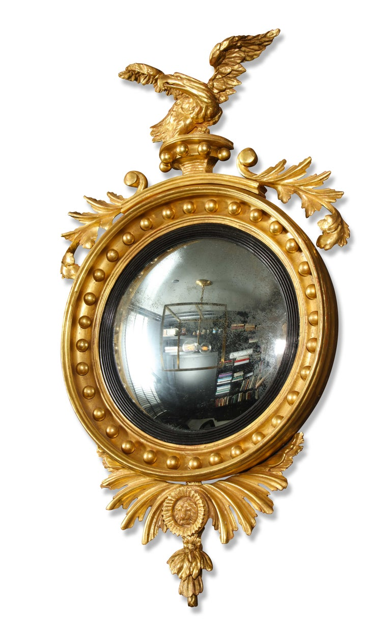 Pair of Regency Giltwood Convex Mirrors For Sale 4