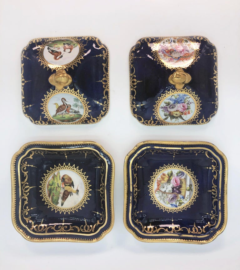 Hand-Painted Pair of Regency Hand Painted Porcelain Covered Dishes by Coalport, circa 1805 For Sale