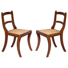 Pair of Regency Klismos Chairs with Beaded Decoration