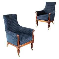 Pair of Regency Lyre Form Rosewood Library Chairs
