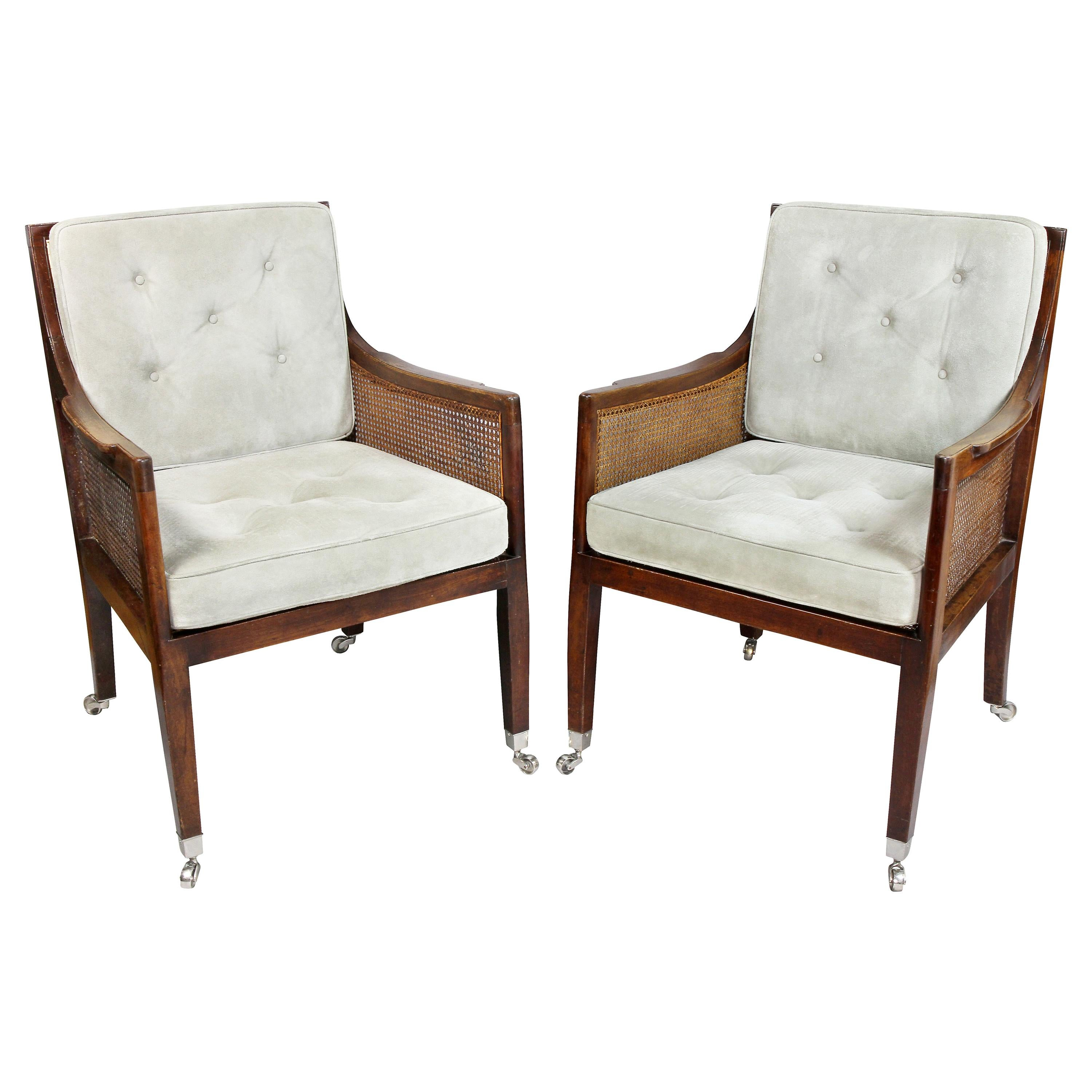 Pair of Regency Mahogany and Caned Armchairs