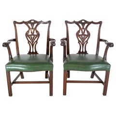 Pair of Regency Mahogany Arm Chairs in Green Leather