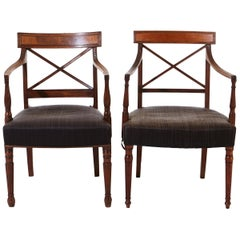 Pair of Regency Mahogany Arm Chairs, with Original Horsehair Upholstery