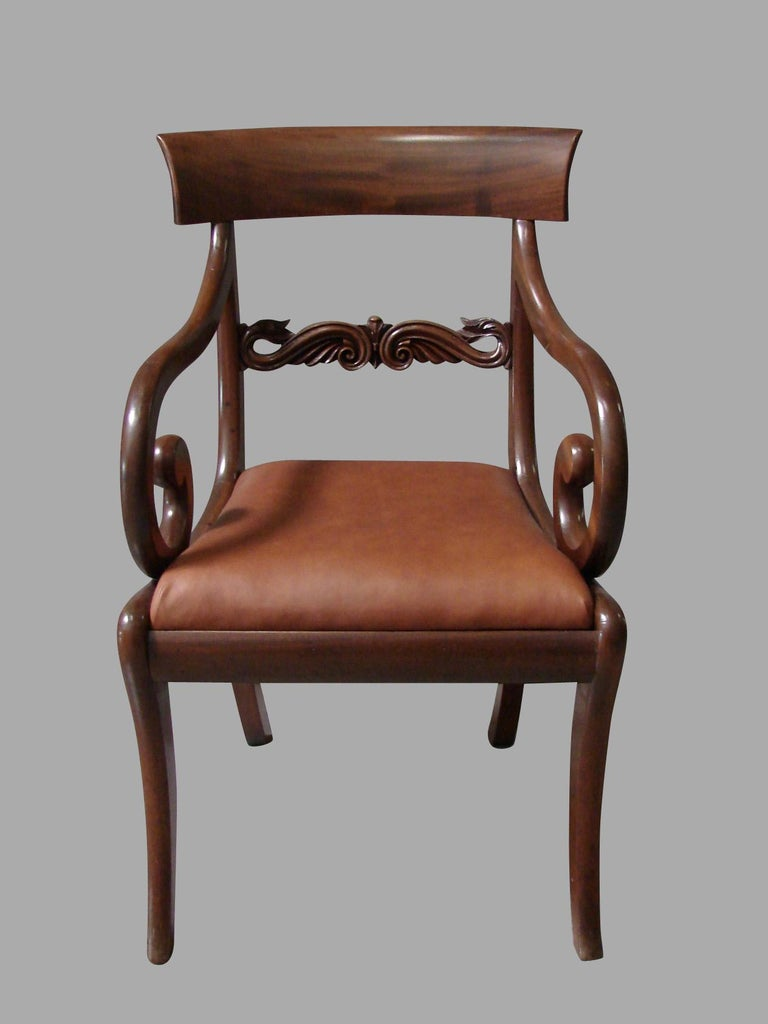 Pair of Regency Mahogany Armchairs with Scroll Arms and Leather Seats In Good Condition For Sale In San Francisco, CA
