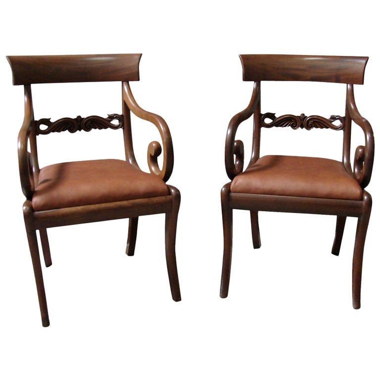 Pair of Regency Mahogany Armchairs with Scroll Arms and Leather Seats For Sale