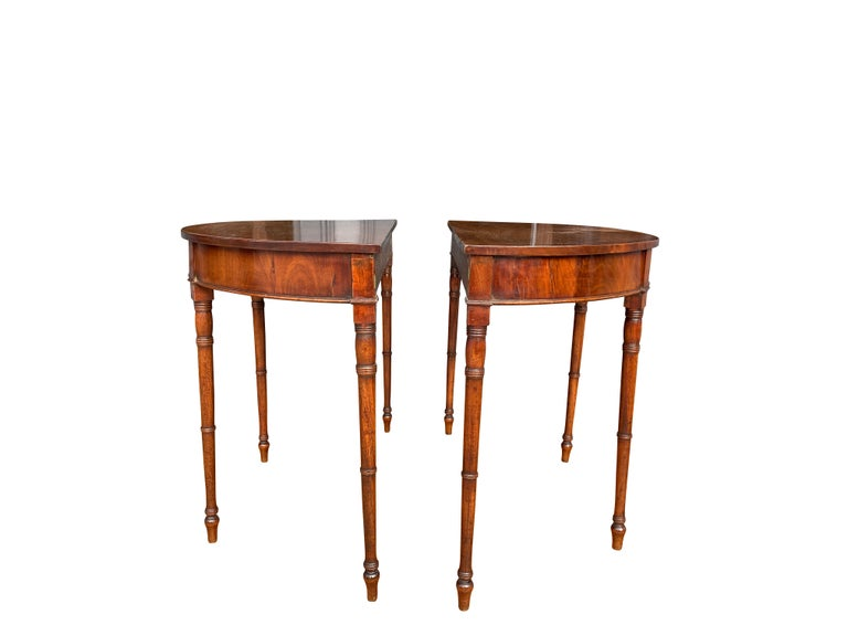 English Pair of Regency Mahogany Demilune Console Tables
