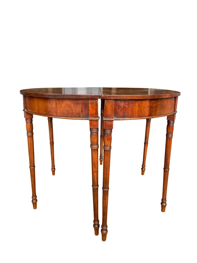 Pair of Regency Mahogany Demilune Console Tables In Good Condition In Essex, MA