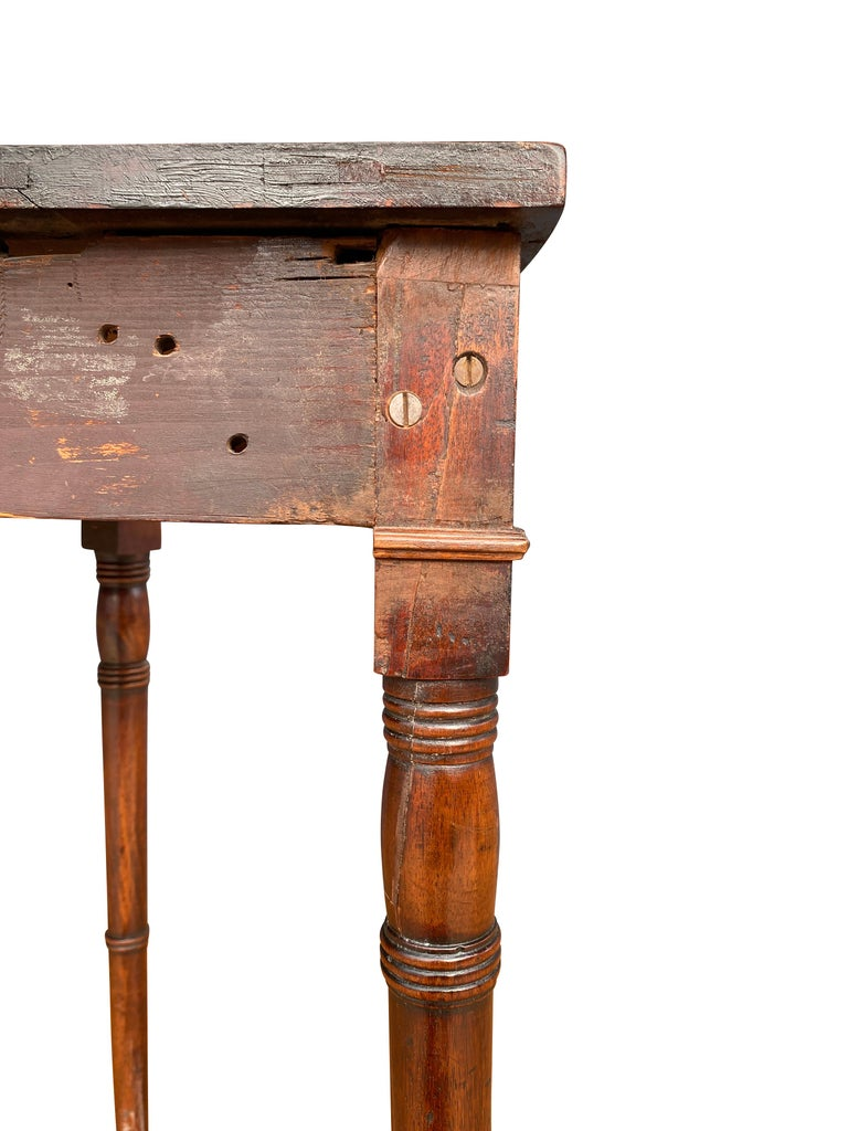 Pair of Regency Mahogany Demilune Console Tables 2