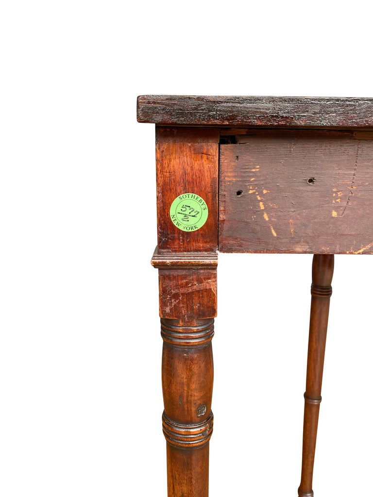 Pair of Regency Mahogany Demilune Console Tables 3