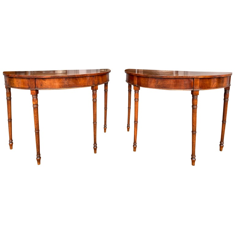 Pair of Regency Mahogany Demilune Console Tables