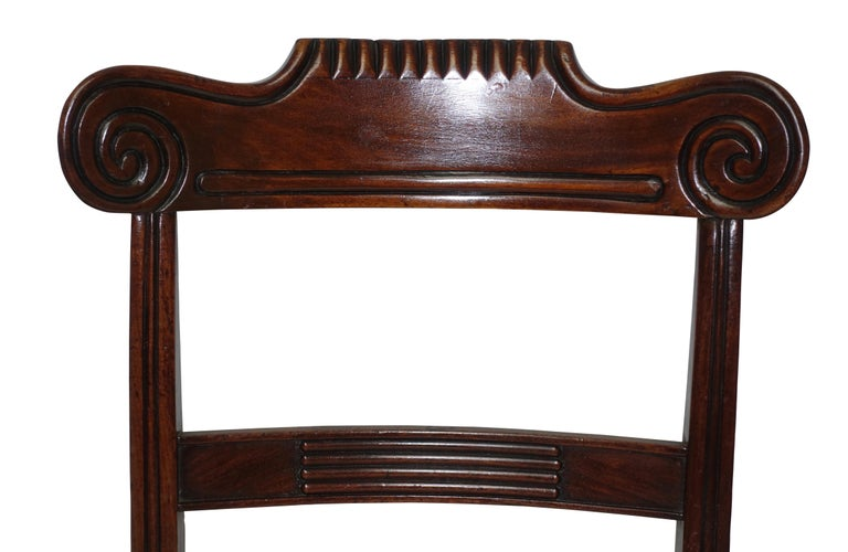 Pair of Regency Mahogany Dining Side Chairs, English, circa 1830 In Good Condition For Sale In San Francisco, CA