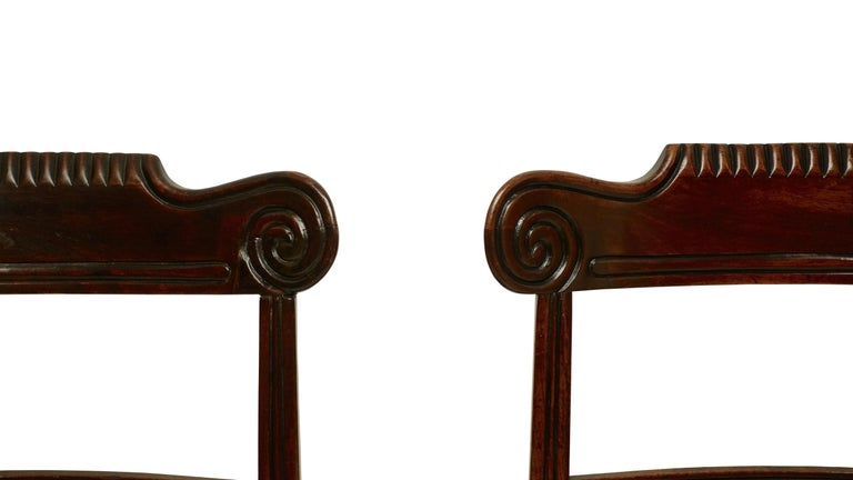 19th Century Pair of Regency Mahogany Dining Side Chairs, English, circa 1830 For Sale