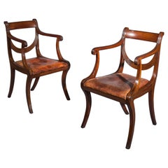 Pair of Regency Mahogany Klismos Armchairs Attributed to Gillows