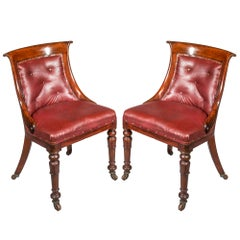 Pair of Regency Mahogany Klismos Tub Chairs