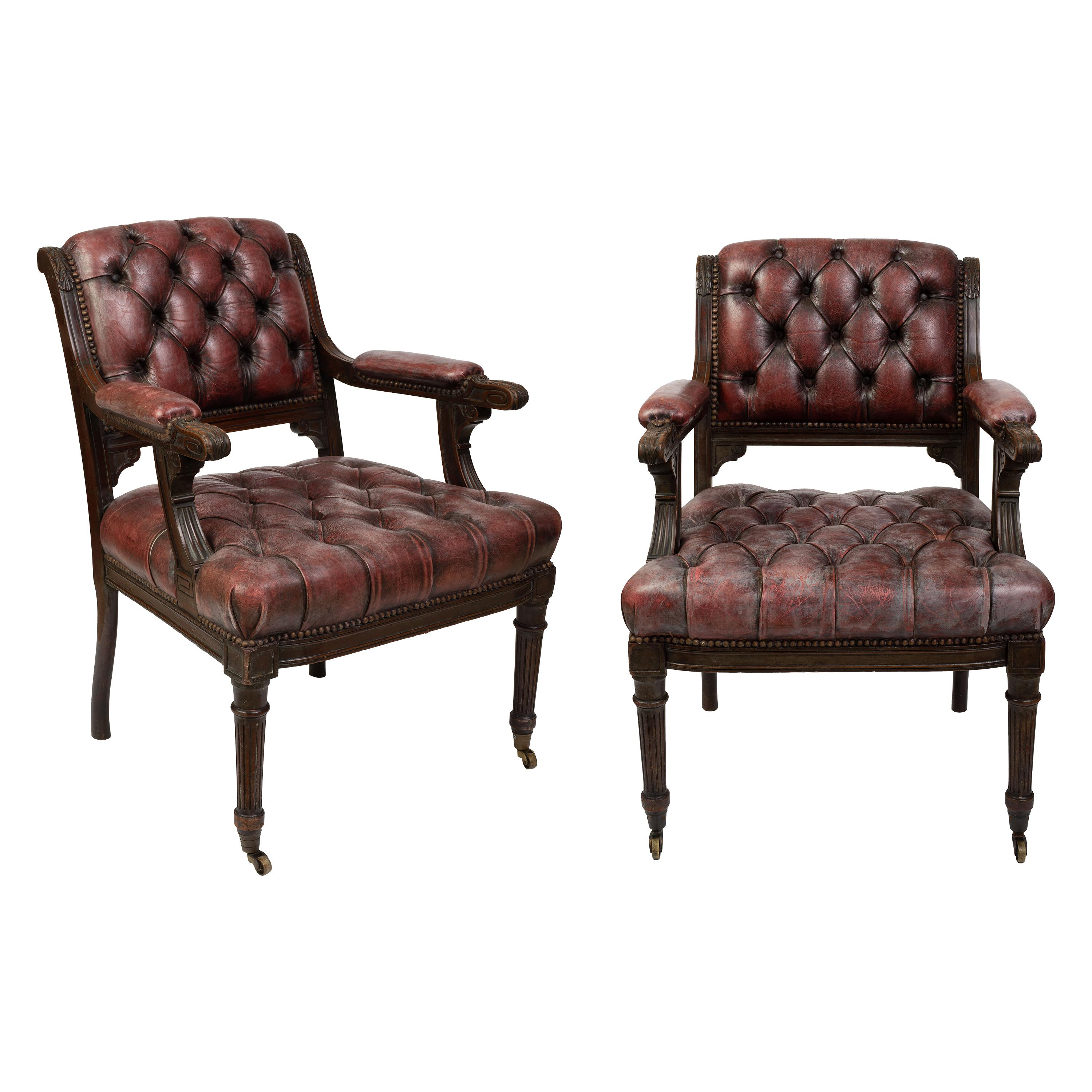 Pair of Regency Mahogany Library Armchairs