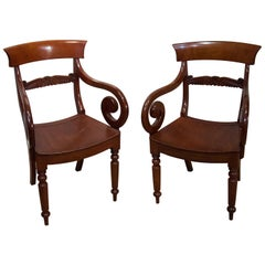 Pair of Regency Mahogany Saddle Seat Armchairs