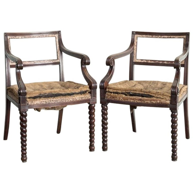 Pair of Regency Mahogany Side Chairs For Sale