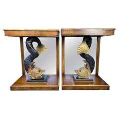Pair of Regency Mirror Back Dolphin Console Tables, 19th Century