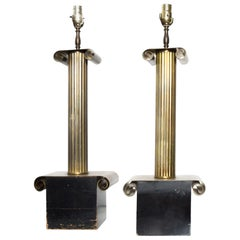 Pair of Regency Neoclassical Stiffel Stately Table Lamps in Bronze & Black 1960s