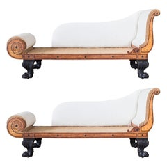 Pair of Regency Oak and Ebony Strung Daybeds