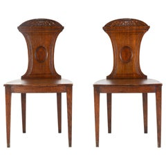 Pair of Regency Oak Hall Chairs