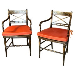 Pair of Regency Parcel-Gilt Rosewood-Grained Caned Armchairs, circa 1810