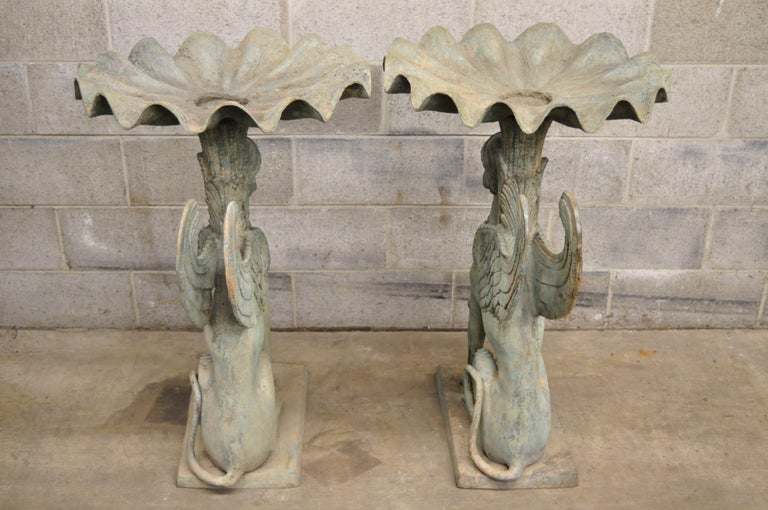 Pair of Regency Patinated Bronze Figural Maiden Sphinx Garden Pedestal Fountains For Sale 3