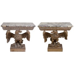 Pair of Regency Period Carved Eagle Console Tables