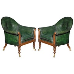 Pair of Regency Period Green Leather and Mahogany Bergères attributed to Gillows