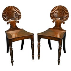 Pair of Regency Period Mahogany Shell Back Hall Chairs