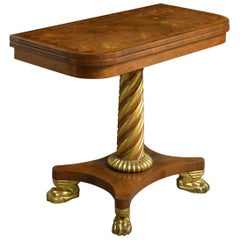 Pair of Regency Rosewood and Parcel-Gilt Card Tables