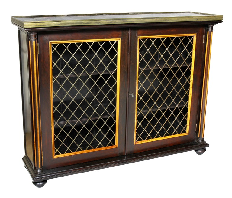 Early 19th Century Pair of Regency Rosewood and Satinwood Cabinets / Credenzas For Sale