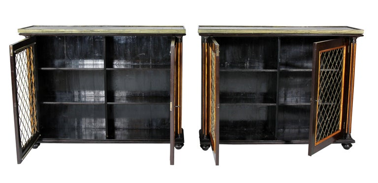 Pair of Regency Rosewood and Satinwood Cabinets / Credenzas For Sale 1