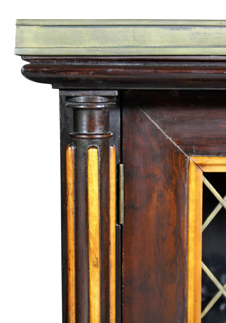 Pair of Regency Rosewood and Satinwood Cabinets / Credenzas For Sale 2