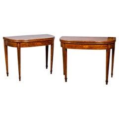 Pair of Regency Rosewood and Satinwood Games Tables