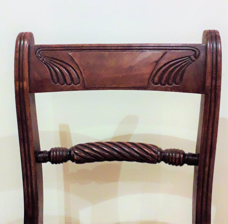 English Pair of Regency Mahogany Side Chairs For Sale