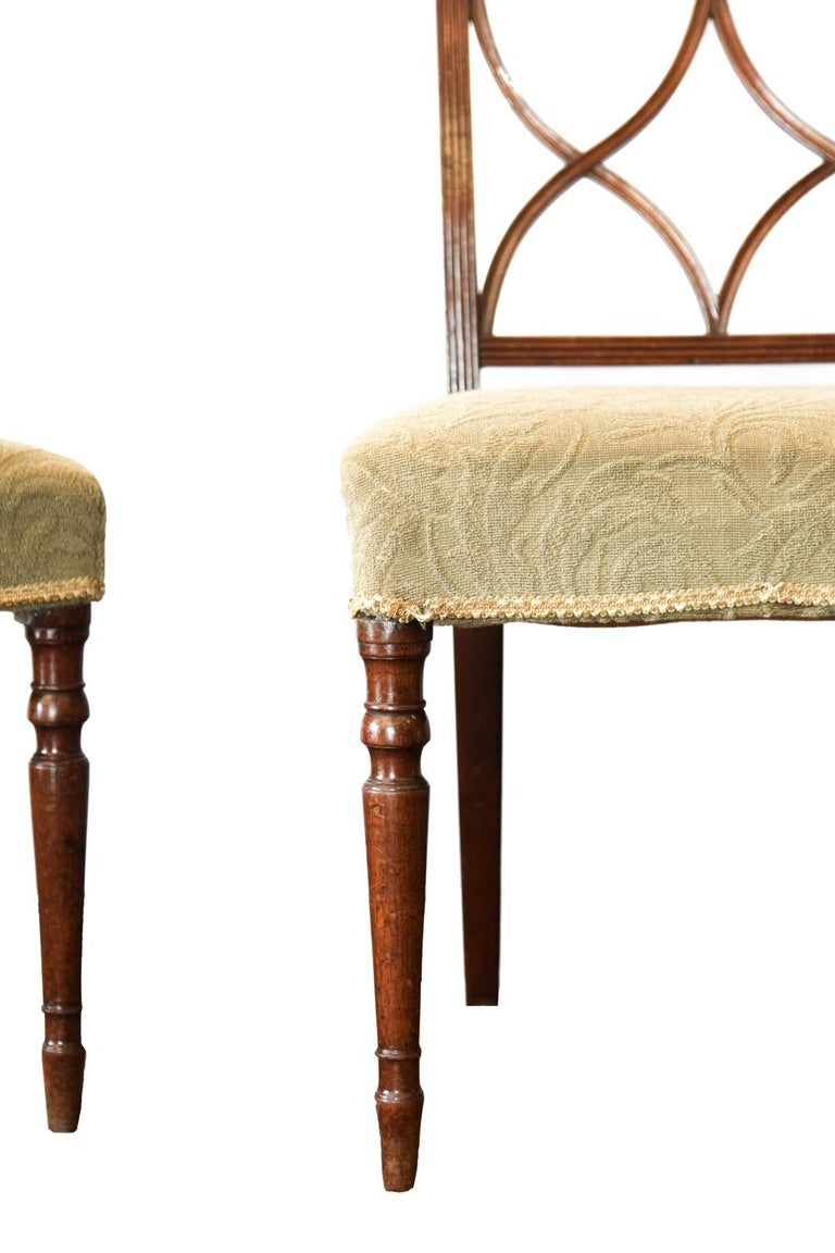 Upholstery Pair of Regency Side Chairs For Sale