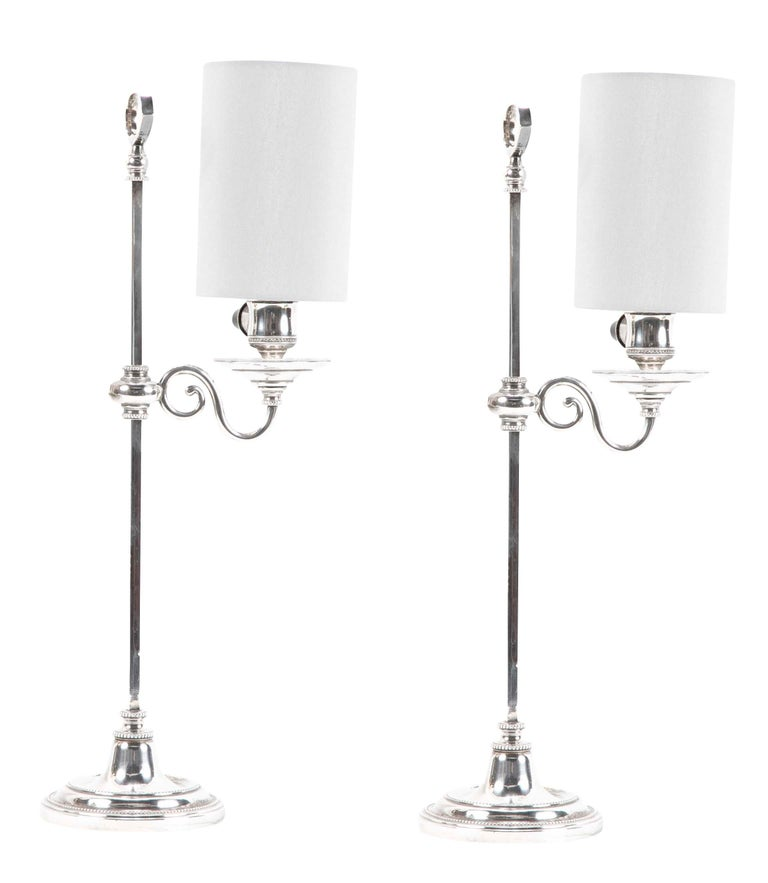 Pair of Regency Silvered Bronze Adjustable Table Lamps For Sale 1