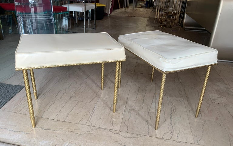 Beautiful Regency style benches with a rope design by Charles Hollis Jones. The benches shows beautifully, upholstered in the original white Naugahyde and in need of new upholstery. Excellent original condition. The piece was designed in 1964 and