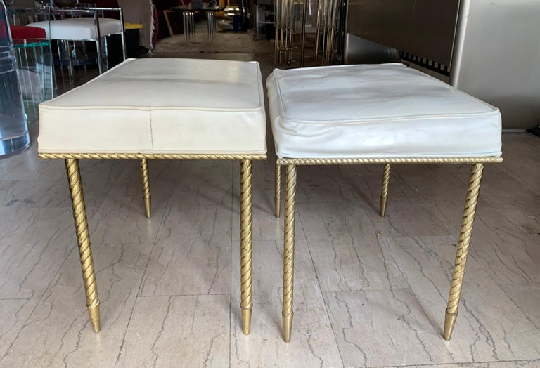 Mid-Century Modern Pair of Regency Style Benches by Charles Hollis Jones in Brass & White Naugahyde For Sale