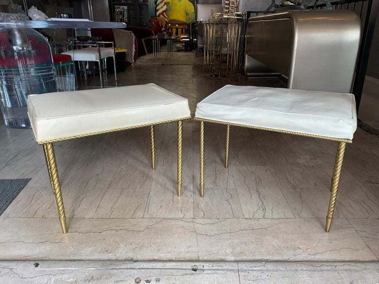 American Pair of Regency Style Benches by Charles Hollis Jones in Brass & White Naugahyde For Sale