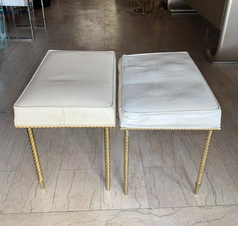 Pair of Regency Style Benches by Charles Hollis Jones in Brass & White Naugahyde In Good Condition For Sale In Los Angeles, CA