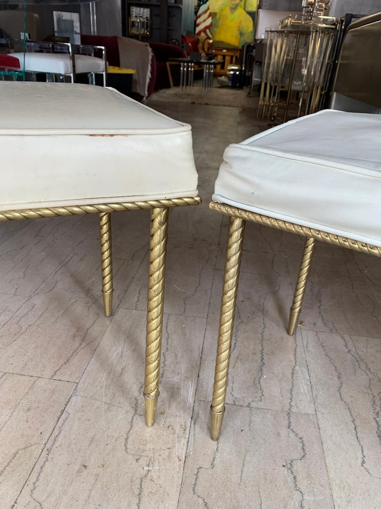 Pair of Regency Style Benches by Charles Hollis Jones in Brass & White Naugahyde For Sale 1