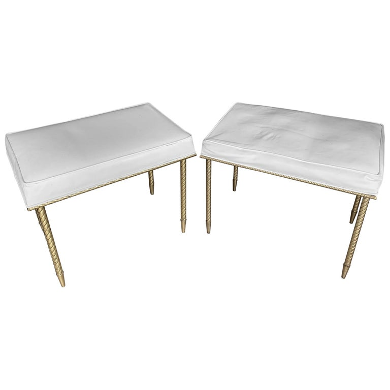 Pair of Regency Style Benches by Charles Hollis Jones in Brass & White Naugahyde For Sale